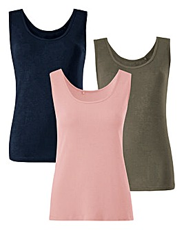Navy/Dusty Pink/Khaki Pack Of 3 Vests