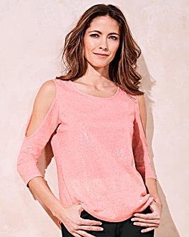 Sequin Cold Shoulder T-shirt