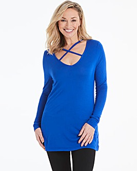 Cobalt Blue Cross Strap Detail Top