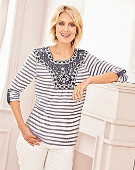 Beaded Yoke Stripe Jersey Top