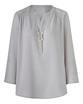 Crepe Blouse With Necklace