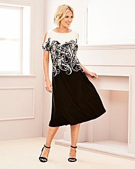 Jersey Print Cold Shoulder Dress