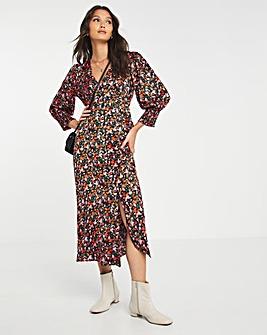 Y.A.S Puff Sleeve V-Neck Midi Dress