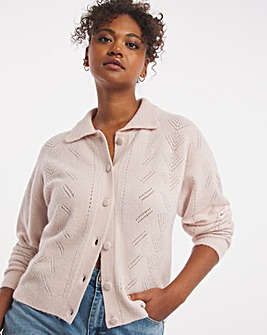 Nobody's Child Pointelle Collared Cardi