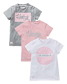 Henleys Girls Pack of Three T-Shirts