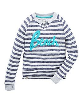 Bench Girls Stripey Logo Crew Neck Sweat