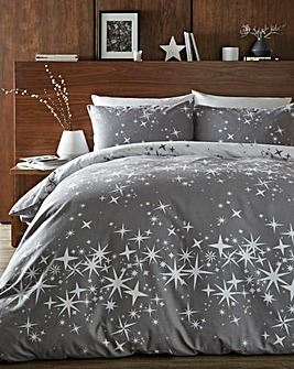 Galaxy Brushed Cotton Grey Duvet Cover Set