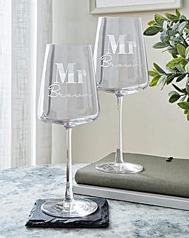 Personalised Mr & Mr Wine Glass