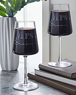 Personalised Mrs & Mrs Wine Glass