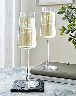 Personalised Mrs & Mrs Champagne Flute