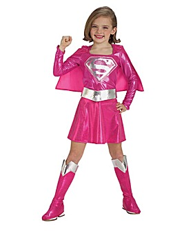 Girls Pink Supergirl Costume + Free Gift