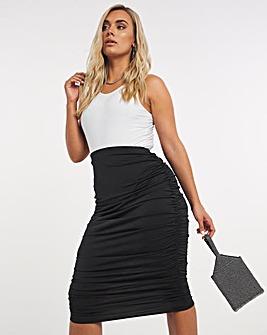 Slinky Ruched Midi Skirt