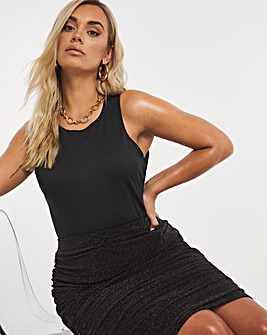Glitted Knit Ruched Midi Skirt