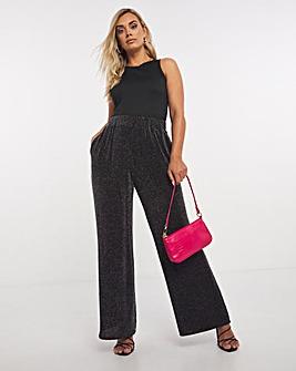 Glitter Knit Wide Leg Trousers