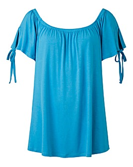 Blue Tie Sleeve Detail Bardot Top