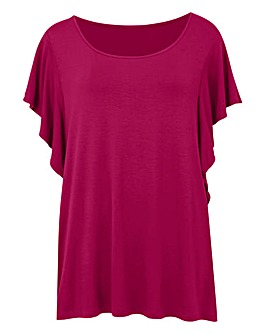 Cherry Ruffle Sleeve Jersey Top