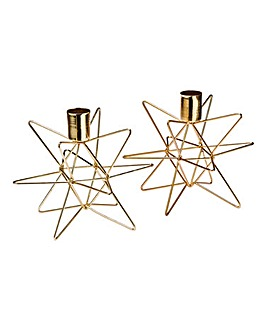 Gold Star Set of 2 Candle Holders