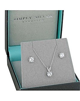 Sterling silver round cubic zirconia necklace and earring set