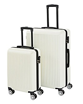 2 Piece Colour Trim ABS Luggage Set