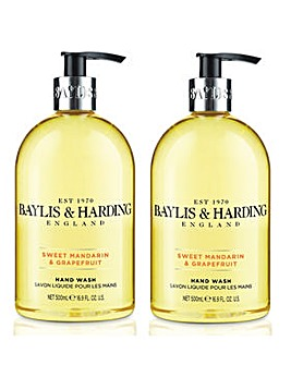 Baylis & Harding Sweet Mandarin & Grapefruit 500ml Hand Wash DUO
