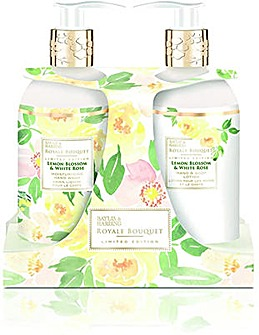 Baylis & Harding Royale Bouquet Lemon Blossom & White Rose 300ml 2 Bottle Set