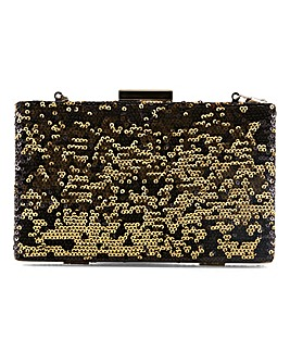 Black Reversible Gold Sequin Clutch