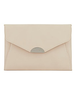 Semi Circle Hardware Nude Clutch