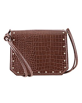 Stud Edge Croc Tie Handle Shoulder Bag