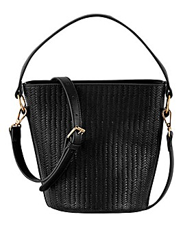 Embossed Weave Bucket Bag