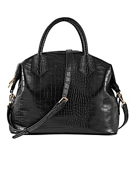 Black Croc Top Handle Work Bag
