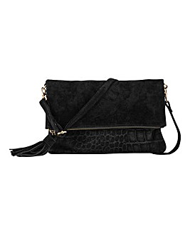 Leather Croc Embossed Suede Chunky Tassel Foldover Clutch