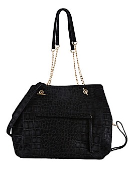 Joanna Hope Leather Croc Suede Tote Bag