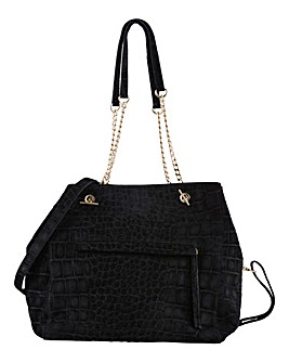 Joanna Hope Leather Embossed Croc Suede Tote Bag