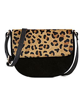 Leather Flapover Leopard Crossbody