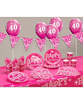 Sparkle Happy Birthday Age 40 Party Kit