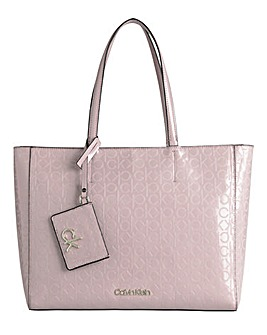 Calvin Klein Patent Shopper Silver Pink