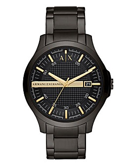 AX Gents Hampton Black IP Bracelet Watch