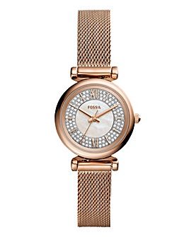 Fossil Ladies Carlie Rose Mesh Watch