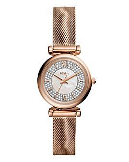 Fossil Ladies Carlie Rose Mesh Watch
