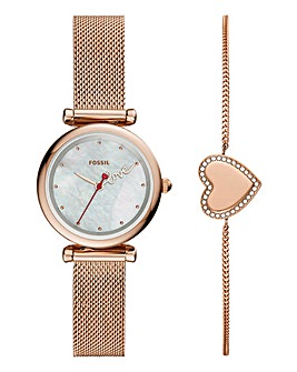 Fossil Ladies Heart Bracelet Rose Watch