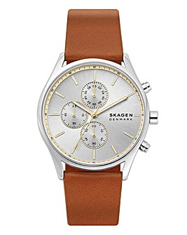 Skagen Mens Chrono Leather Strap Watch