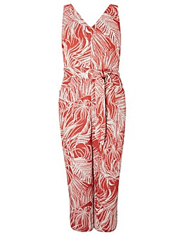 Monsoon Nancy Print Linen Crop Jumpsuit