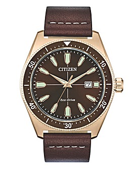 Citizen Mens Eco Drive Leather Strap Watch