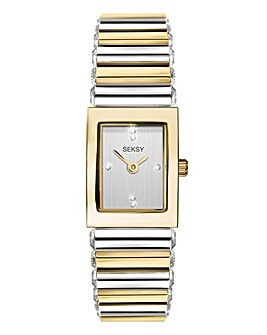 Sesky Ladies Two Tone Rectangular Watch