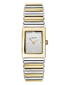 Sesky Ladies Two Tone Rectangular Watch
