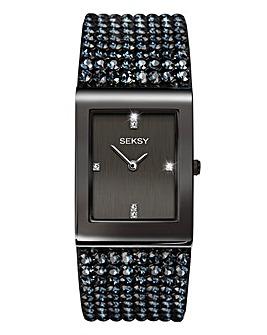 Seksy Ladies Black Retangular Watch