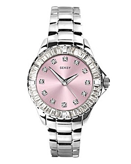 Seksy Ladies Pink Diamond Dial Watch