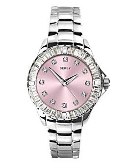 Seksy Ladies Pink Diamond Dial Watch