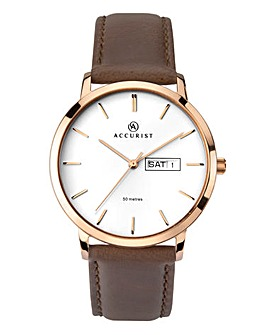 Accurist Mens Rose Gold White Dial Watch
