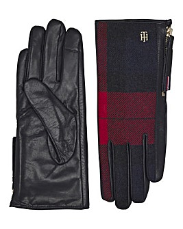 Tommy Hilfiger Wool Mix Leather Gloves